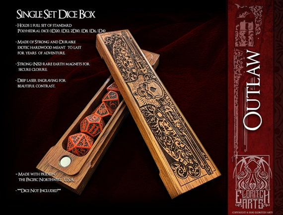 Dice Box - Outlaw - RPG, Dungeons and Dragons, D&D, DnD, Pathfinder, Table Top Role Playing and Gaming Accessories by Eldritch Arts