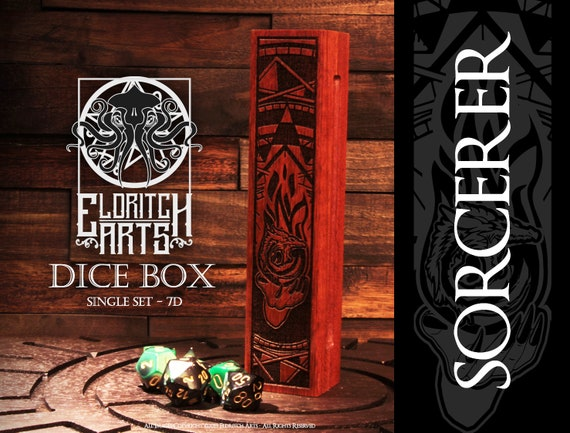 Dice Box - Sorcerer - RPG, Dungeons and Dragons, D&D, DnD, Pathfinder, Table Top Role Playing and Gaming Accessories by Eldritch Arts