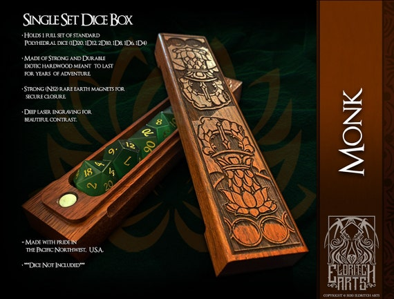 Dice Box - Monk - RPG, Dungeons and Dragons, D&D, DnD, Pathfinder, Table Top Role Playing and Gaming Accessories by Eldritch Arts