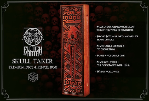 Dice & Pencil Box - Skull Taker - RPG, Dungeons and Dragons, DnD, Pathfinder, Role Playing and Gaming Accessories by Eldritch Arts
