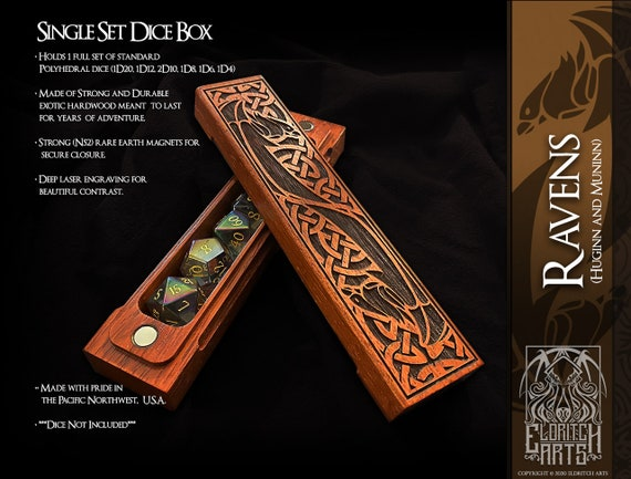 Dice Box - Ravens - RPG, Dungeons and Dragons, D&D, DnD, Pathfinder, Table Top Role Playing and Gaming Accessories by Eldritch Arts