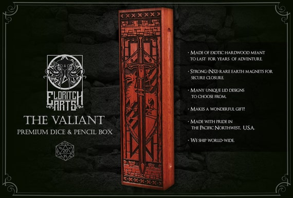 Dice & Pencil Box - The Valiant - RPG, Dungeons and Dragons, DnD, Pathfinder, Role Playing and Gaming Accessories by Eldritch Arts