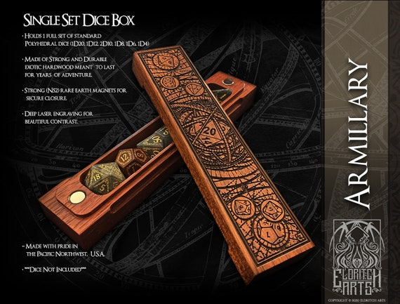 Dice Box - Armillary - RPG, Dungeons and Dragons, D&D, DnD, Pathfinder, Table Top Role Playing and Gaming Accessories by Eldritch Arts