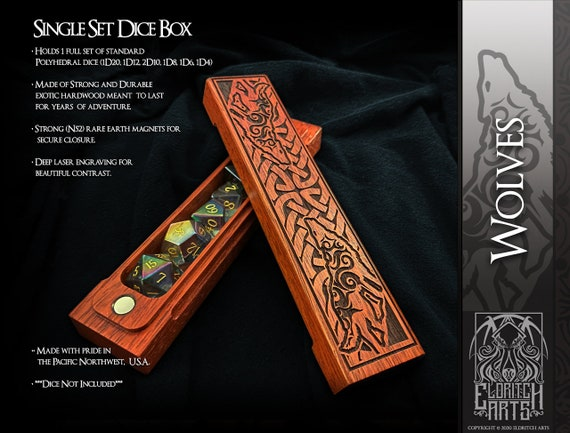 Dice Box - Wolves - RPG, Dungeons and Dragons, D&D, DnD, Pathfinder, Table Top Role Playing and Gaming Accessories by Eldritch Arts