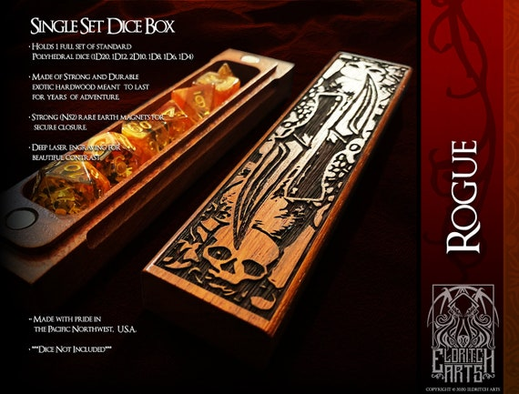Dice Box - Rogue - RPG, Dungeons and Dragons, D&D, DnD, Pathfinder, Table Top Role Playing and Gaming Accessories by Eldritch Arts