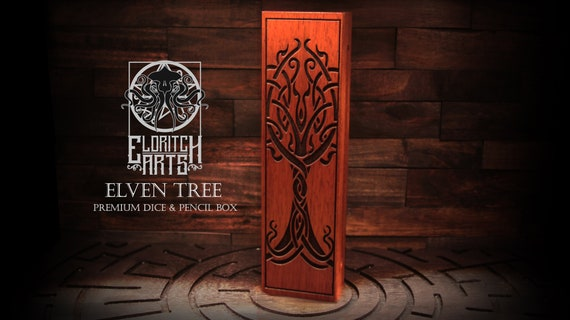 Dice & Pencil Box - Elven Tree - RPG, Dungeons and Dragons, DnD, Pathfinder, Table Top Role Playing Accessories by Eldritch Arts