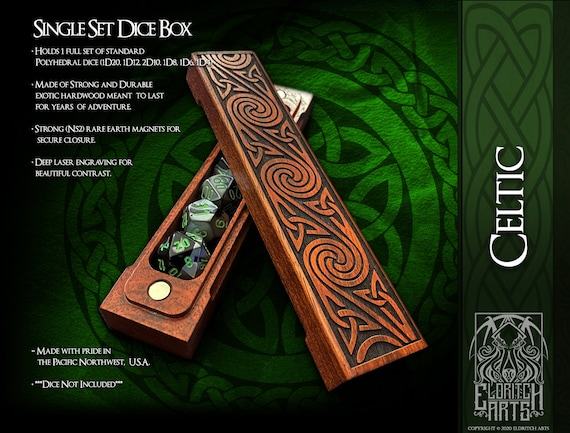 Dice Box - Celtic Swirls -  RPG, Dungeons and Dragons, D&D, DnD, Pathfinder, Table Top Role Playing and Gaming Accessories by Eldritch Arts