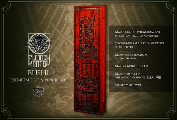 Dice & Pencil Box - Bushi - RPG, Dungeons and Dragons, DnD, Pathfinder, Role Playing and Gaming Accessories by Eldritch Arts