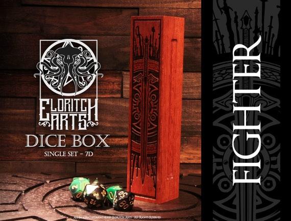 Dice Box - Fighter - RPG, Dungeons and Dragons, D&D, DnD, Pathfinder, Table Top Role Playing and Gaming Accessories by Eldritch Arts