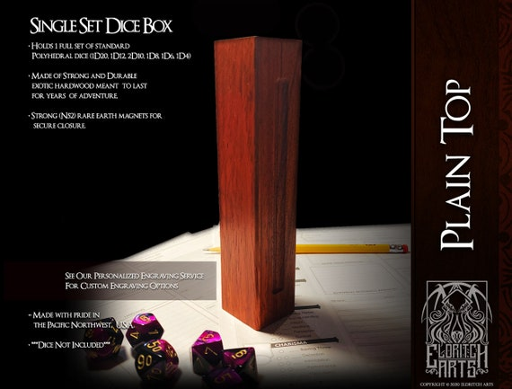 Dice Box - Plain Top - RPG, Dungeons and Dragons, D&D, DnD, Pathfinder, Table Top Role Playing and Gaming Accessories by Eldritch Arts