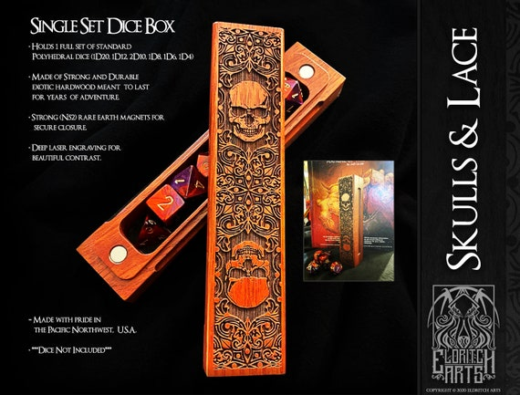 Dice Box - Skulls and Lace - RPG, Dungeons and Dragons, D&D, DnD, Pathfinder, Table Top Role Playing and Gaming Accessories by Eldritch Arts