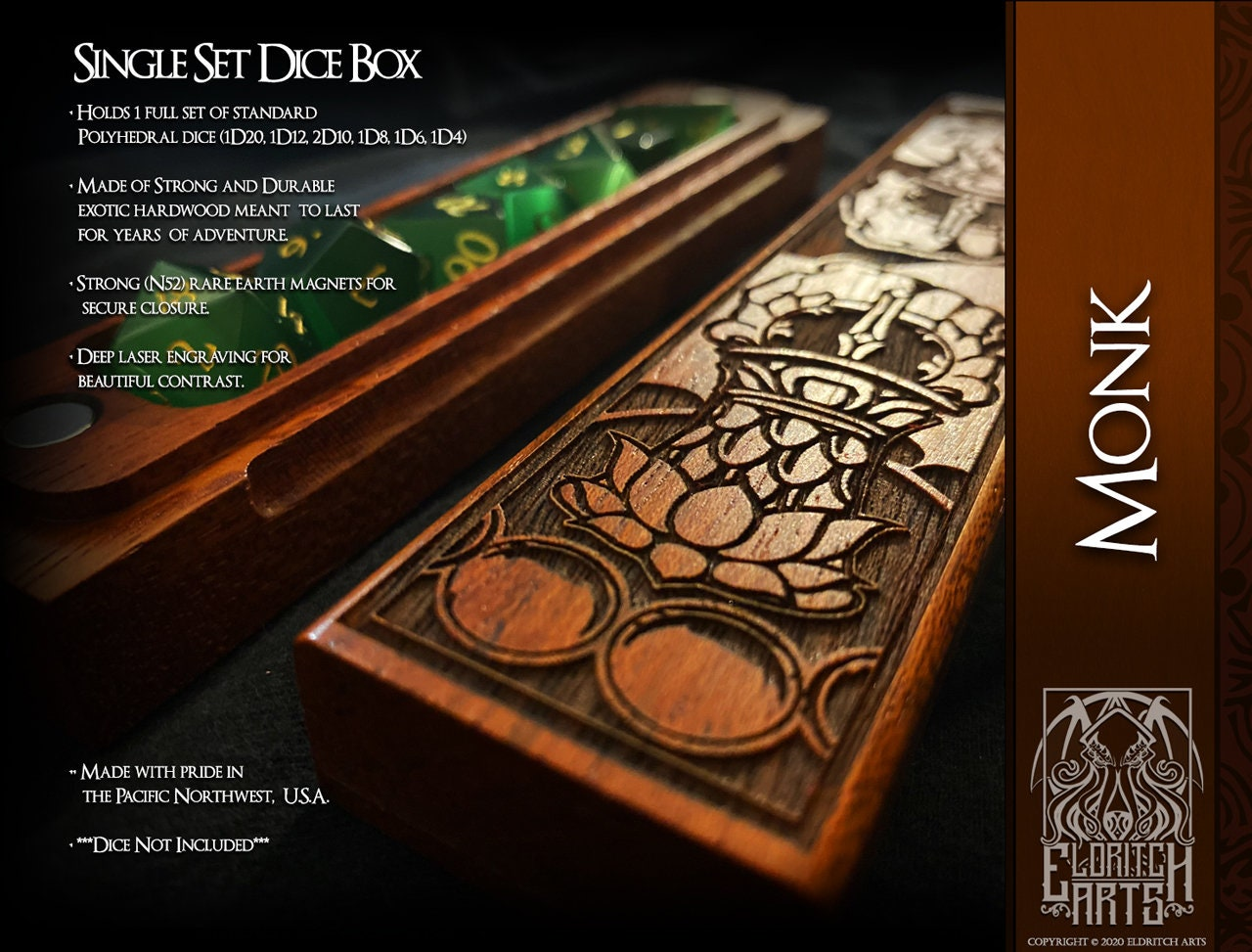 RPG Table Top Accessory The Monk Mythic Mug /& Dice Box Combo