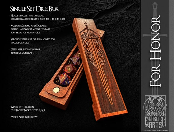 Dice Box - For Honor - RPG, Dungeons and Dragons, D&D, DnD, Pathfinder, Table Top Role Playing and Gaming Accessories by Eldritch Arts