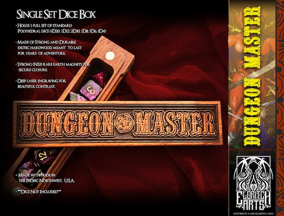 Dice Box - Dungeon Master - RPG, Dungeons and Dragons, D&D, DnD, Pathfinder, Table Top Role Playing and Gaming Accessories by Eldritch Arts