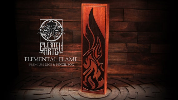 Dice & Pencil Box - Elemental Flame - RPG, Dungeons and Dragons, DnD, Pathfinder, Table Top Role Playing Accessories by Eldritch Arts