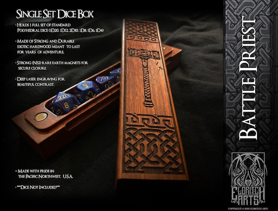 Dice Box - Battle Priest - RPG, Dungeons and Dragons, D&D, DnD, Pathfinder, Table Top Role Playing and Gaming Accessories by Eldritch Arts