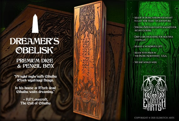 Dice & Pencil Box - Dreamer's Obelisk - Cthulhu - RPG, Dungeons and Dragons, DnD, Pathfinder, Call of Cthulhu Accessories by Eldritch Arts