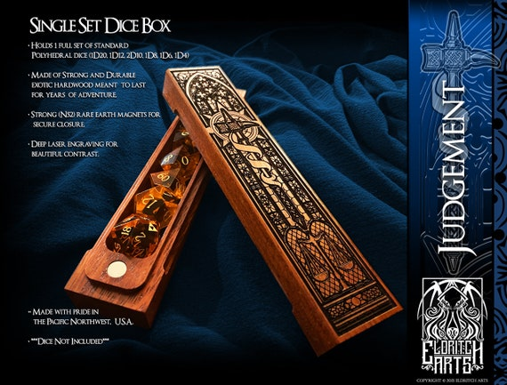 Dice Box - Judgement - RPG, Dungeons and Dragons, D&D, DnD, Pathfinder, Table Top Role Playing and Gaming Accessories by Eldritch Arts