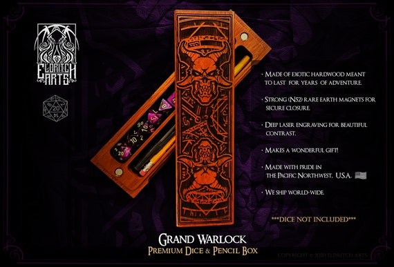 Dice & Pencil Box - Grand Warlock - RPG, Dungeons and Dragons, DnD, Pathfinder, Role Playing and Gaming Accessories by Eldritch Arts