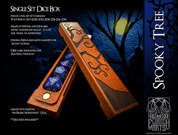 Dice Box - Spooky Tree - RPG, Dungeons and Dragons, D&D, DnD, Pathfinder, Table Top Role Playing and Gaming Accessories by Eldritch Arts