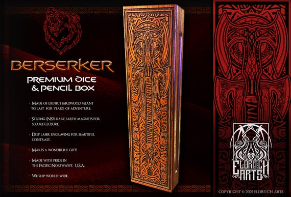 Dice & Pencil Box - Grand Berserker - RPG, Dungeons and Dragons, DnD, Pathfinder, Role Playing and Gaming Accessories by Eldritch Arts