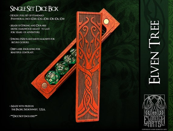 Dice Box - Elven Tree - RPG, Dungeons and Dragons, D&D, DnD, Pathfinder, Table Top Role Playing and Gaming Accessories by Eldritch Arts