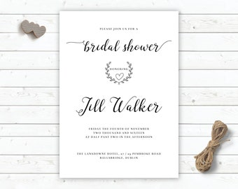 classic bridal shower invitation diy printable personalised bridal shower invitation modern bride marriage stationary photograph