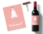 photo regarding Printable Wine Labels identified as will your self be my bridesmaid strategy, peach printable wine label, bridesmaid gown sticker, personalized wine label, maid of honor wine stickers
