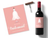graphic about Printable Wine Labels called will oneself be my bridesmaid thought, peach printable wine label, bridesmaid costume sticker, personalized wine label, maid of honor wine stickers