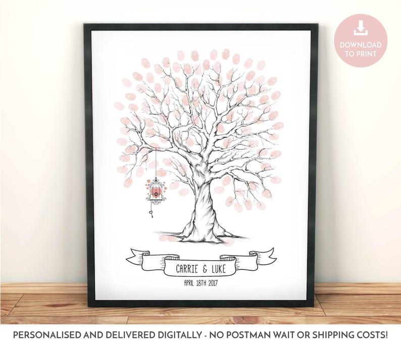 Fingerabdruck Baum Mit Vogelkafig Hochzeit Gastebuch Etsy
