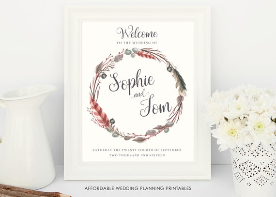 91c6d3e3950a0 Welcome to Our Wedding, printable wedding poster, wedding ...