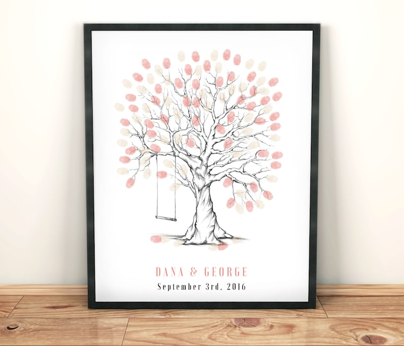 photo about Printable Trees called Finger print trees, personalized marriage ceremony reward, wedding day tree printable, wedding day tree swing, marriage ceremony visitor ebook, customised wedding ceremony present