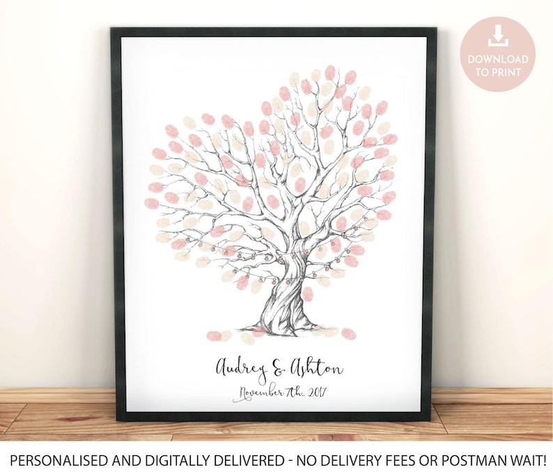 Fingerabdruck Baum Druckbare Wedding Gastebuch