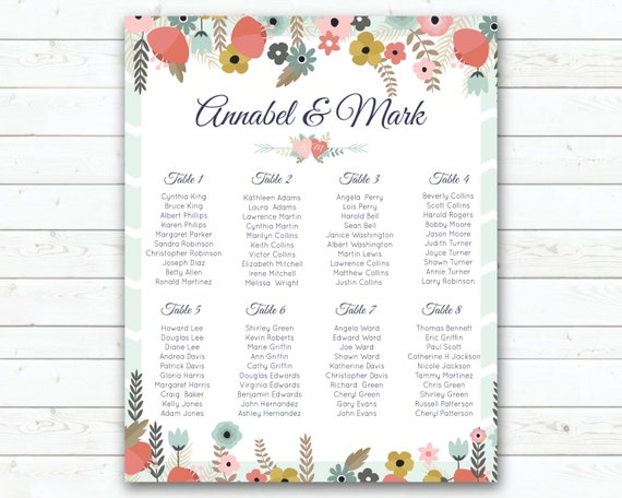 Printable Wedding Seating Plan Mint Green Peach Flowers Wedding Seating Sign Vertical Wedding Seating Plan Let Guests Know Where To Sit By Wedding Fusions Catch My Party