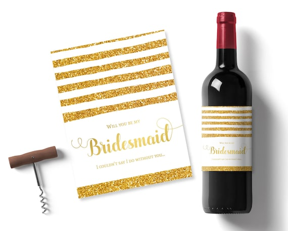 graphic about Printable Wine Label titled will by yourself be my bridesmaid present, gold glitter printable wine
