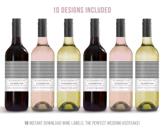 Wedding Gift Ideas for the bride and groom, wine label milestone, Wedding Gifts, Wedding Present, gift bride and groom, chevron wedding gift