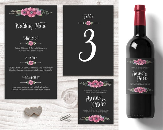 blackand floral wedding table decorations personalised wine labels