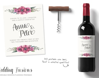Personalized Wine Labels, Personalised Wine Labels, Wedding Wine Label, Printable Label, Wedding Printable, Wedding Stationary, Wine Label