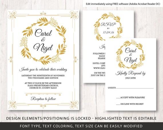 gold wedding invite template, wedding diy, wedding invite