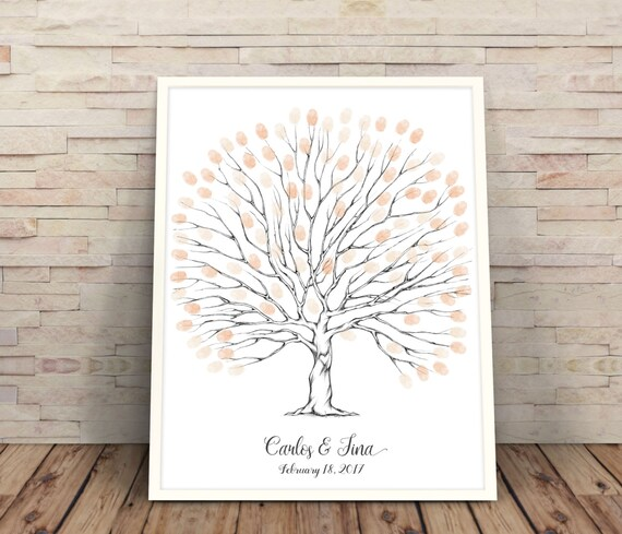 Finger Print Trees Wedding Guest Book Personalised Wedding Gift