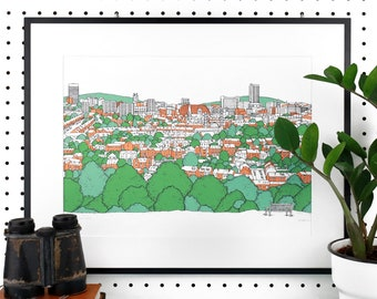 SHEFFIELD VIEW SCREENPRINT - City Skyline from Meersbrook Park Illustration - Limited Edition