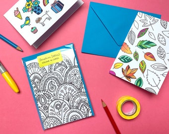Colour-In Cards - Snail Mail Postable Gift - Adult Colouring Stationery