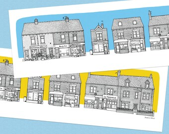 SHARROW VALE ROAD Shops Illustration Long Wide Print - Black Line Drawing with Blue / Mustard Yellow Sky
