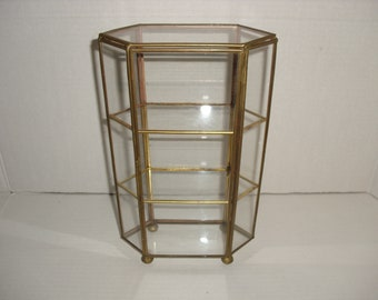 Hexagon Glass and Metal Display Case.  Three Shelves.  Trinket Display Case.  Jewelry Case.