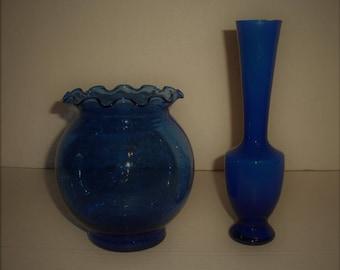 Bubble Glass Ivy Bowl.  Cobalt.   Indiana Glass.  Dark Blue Bud Vase.