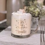 Christmas Mug, Glass Mug, Sparkle Mug, Tis The Season To Sparkle, Clear Coffee Mug, Glass Coffee Mug