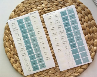 Mini Laminated Bible Tabs with Adhesive, Blue Arrows Vinyl Bible Tabs, Bible Journaling for Women, Bible Dividers, Bible Stickers