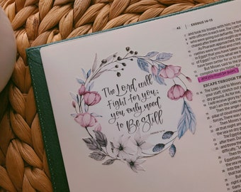 Exodus 14:14 Bible Stickers, Christian Stickers, Hand Lettered Original Stickers, Water Resistant Stickers, Bible Verses, God, LoveTisTrue