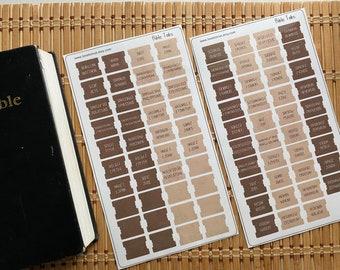Mini Laminated Bible Tabs with Adhesive, Brown Tan Vinyl Bible Tabs, Bible Journaling for Men, Bible Dividers, Bible Stickers