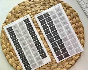 Mini Laminated Bible Tabs with Adhesive, Dark Grey Tones Vinyl Bible Tabs, Bible Journaling for Men, Bible Dividers, Bible Stickers